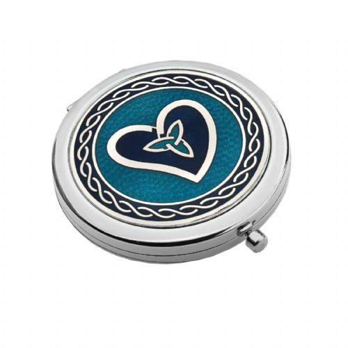 Compact Mirror Silver Plated Heart Design Handbag Magnifying Travel Cosmetic
